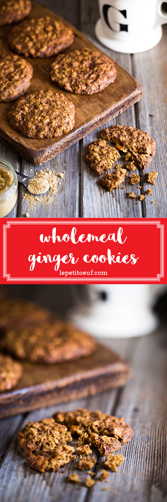 Wholemeal ginger cookies made with spelt flour and reduced sugar, as well as some wholesome oats, to really bump up the micronutrients in this recipe. Fiery ginger makes for a perfect flavour to go alongside a mug of hot milk on a cold day.