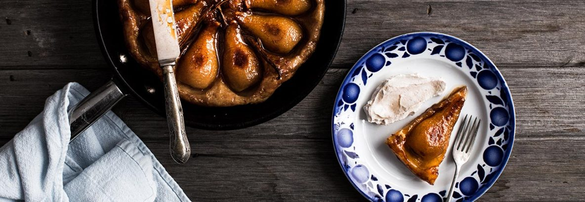 Crispy, rich, sweet spelt tarte tatin with caramelised pears, vanilla and a sweet cinnamon labneh to top it off. This is a simple dessert which is utterly beautiful and will have your guests in awe at your baking skills. It makes the perfect dessert, afternoon tea or just an indulgent treat to add some sweetness to your life.