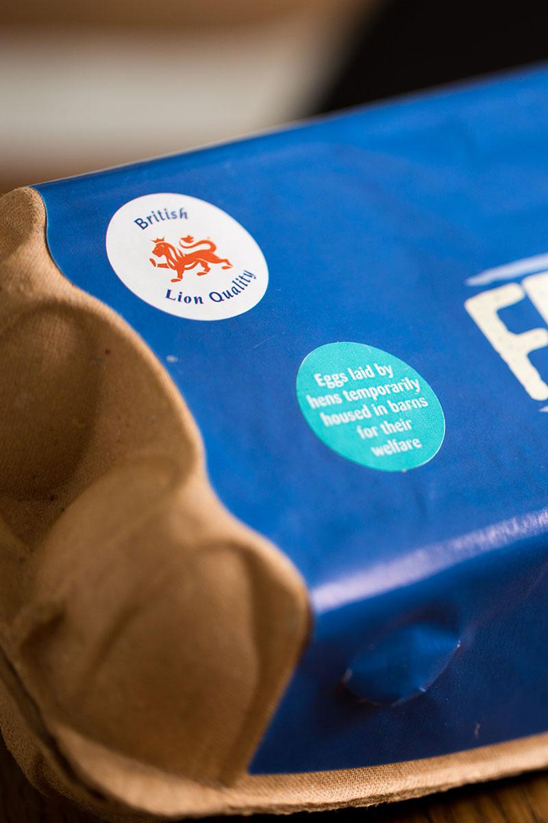 Free Range Eggs Box with little blue barn raised stickers