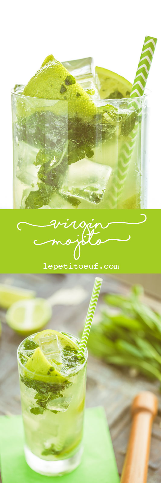 A virgin mojito, or 'nojito' is the most refreshing drink this side of a fresh lime soda. Perfect for a hot summer day or when you simply don't want alcohol, these alcohol free cocktails are stunningly tasty, filled bashed lime and mint, topped up with chilled soda and ice cubes. The perfect mocktail for any occasion.