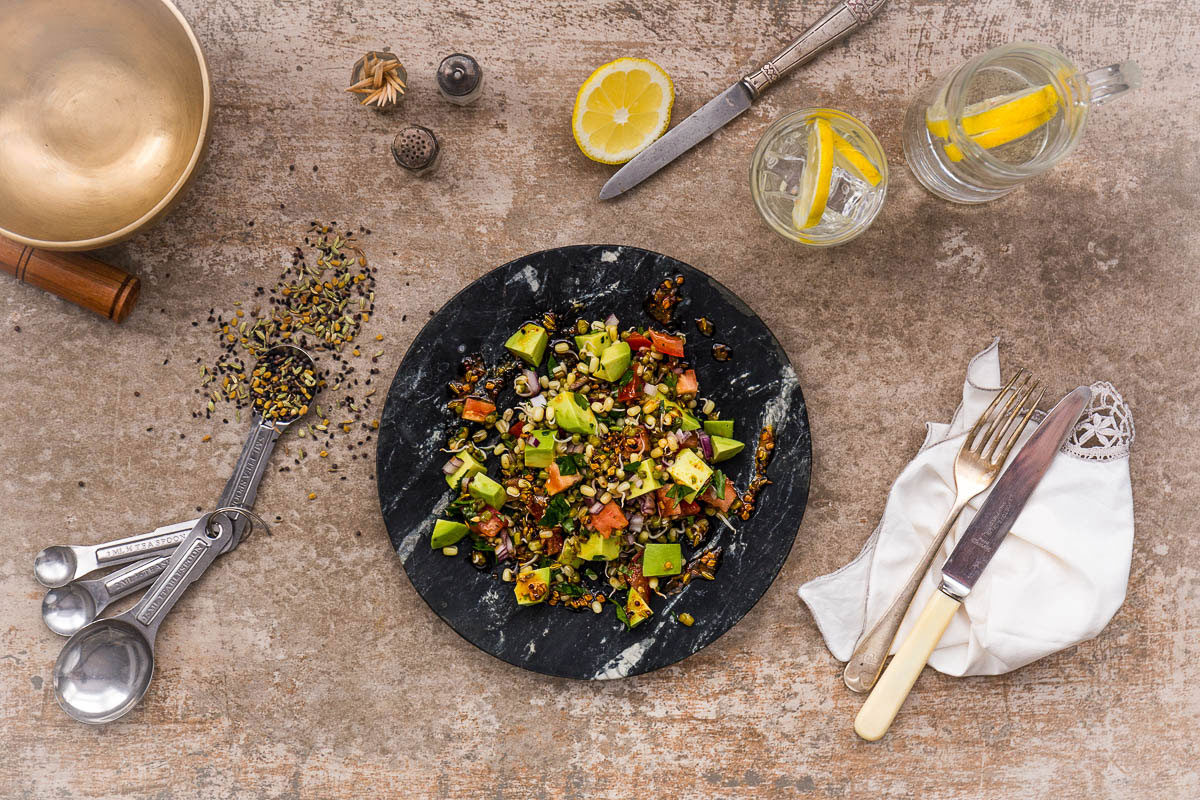 Here's a spicy, zingy Indian style sprouted bean salad which has been my default lunch option for a few weeks, because it ticks all my boxes for a great lunch. It's simple to make (once you've got the sprouts), it's ridiculously tasty with the combination of seeds, spices, lemon and chilli, plus it's got a big tick next to all the major nutrients we need. All this alongside it being completely vegan, it really couldn't be more versatile and all satisfying.