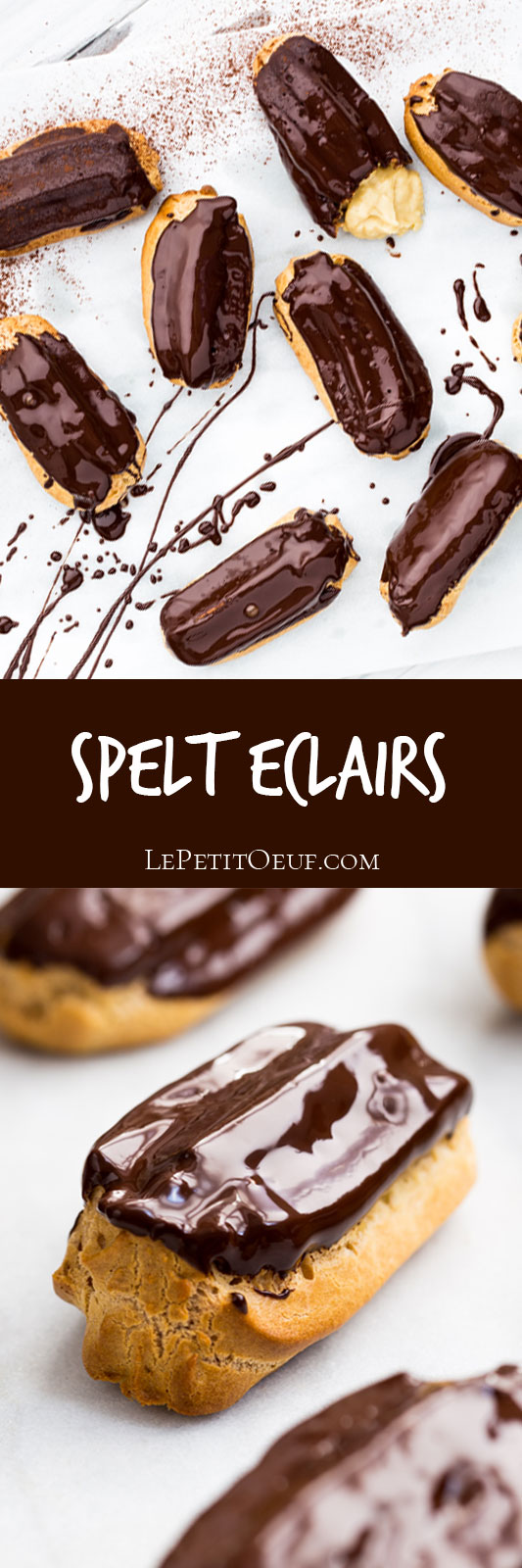 Spelt eclairs are a beautiful baked treat made with my spelt choux paste and stuffed with my dairy free pastry cream. Don't be afraid, these hollow buns are a patisserie favourite which can extend your knowledge of baking without stressing you out!