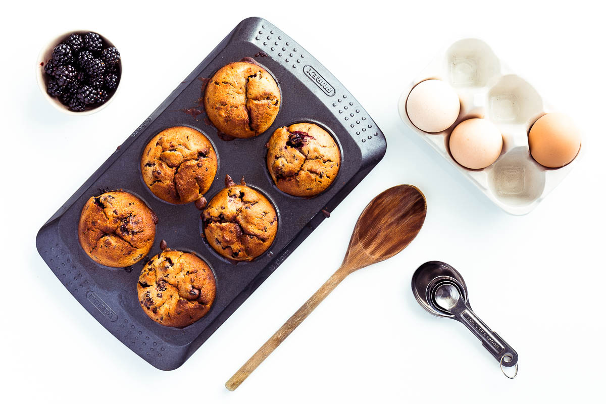 Soft and tender spelt blackberry and apple muffins, a recipe created from seasonal fruit picked directly from the plant, a dairy-free recipe using delicious spelt flour and the perfect natural pairing of blackberries and apples.